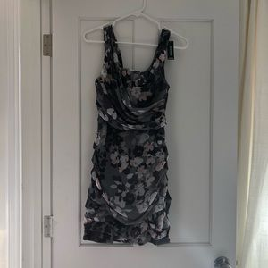 Express Gray Grey Purple floral ruched dress 4